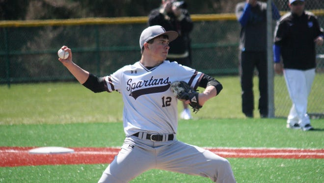 Roger Bacon senior pitcher Chris Honebrink started against Wyoming on April 4, 2015 at Crosley Field.