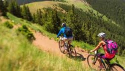 Two mountain bikers try out the trails at Ski Apache