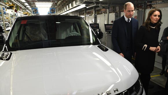 William and Kate during their tour of the Range Rover