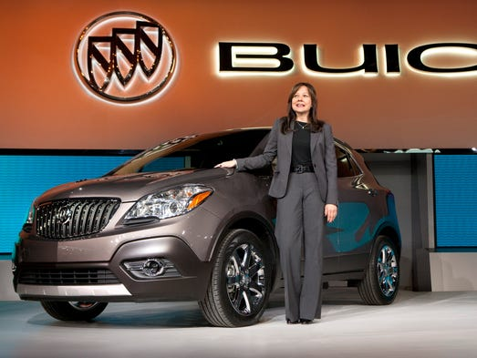 Mary Barra became the first woman to lead a major automaker when she became CEO of General Motors Jan. 1. Our look at vehicles launched under her tenure as head of GM's product development include this 2013 Buick Encore luxury crossover.