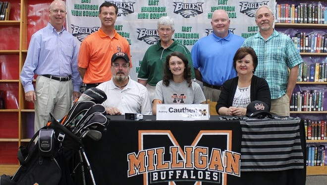 East Henderson senior Ashley Cauthen has signed to play college golf for Milligan.