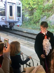 Harry Potter arrives at the Staunton train station Saturday morning.