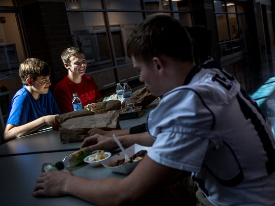 David Sherman and Josh Hude, both 15, eat lunch with friends Friday, September 9, 2016 at Marysville High School. Marysville High School has adopted a nut-free policy for the school.
