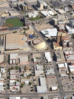 This aerial photo shows Duranguito, lower center, which is in the footprint area of the new Downtown arena.