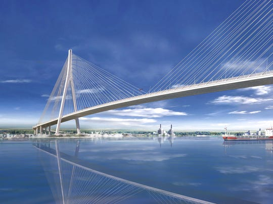 A rendering of the Gordie Howe International Bridge, a cable-stayed design with the longest main span in North America at about 933 yards,and with towersrivaling the height of theRenaissance Center in Detroit. It was revealed in July 2018.
