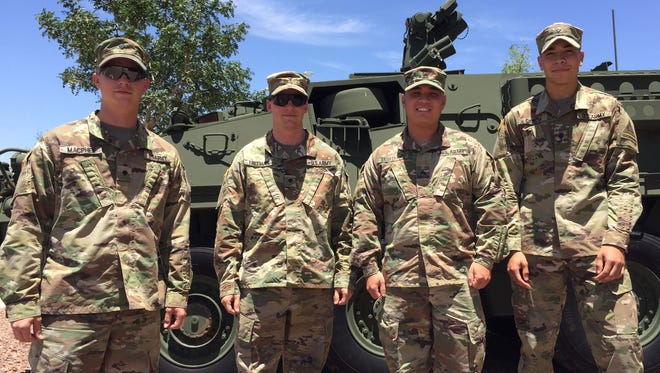 From left, Spc. William MacPhee and Spc. Trevor Freeman were recently named the top snipers at Fort Bliss and the 1st Armored Division, while Sgt. Rhen Brinkerhoff and Spc. Adam Garcia took third place.