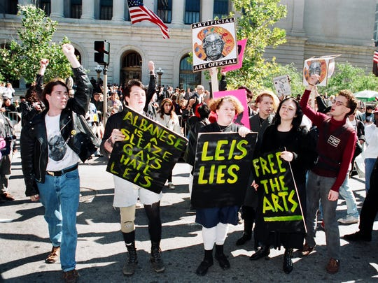 Sept. 25, 1990: A crowd of protesters marched on Fountain Square, the CAC and the Hamilton County Courthouse in Cincinnati. Activists form Cincinnati, New York City and Columbus joined the rally.