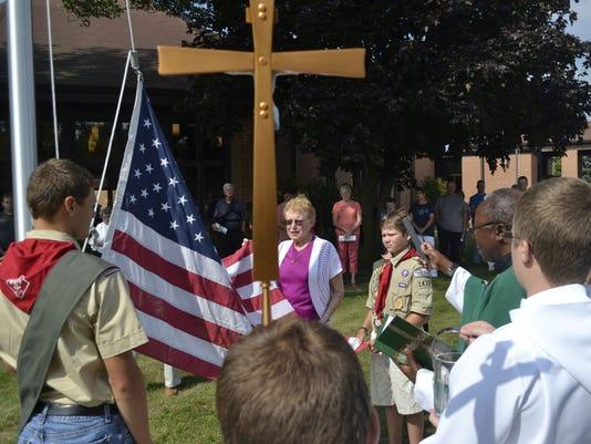 Flagpole photo at Oneida church 4