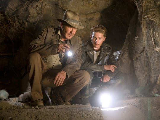 Harrison Ford (left) as Indiana Jones and co-star Shia