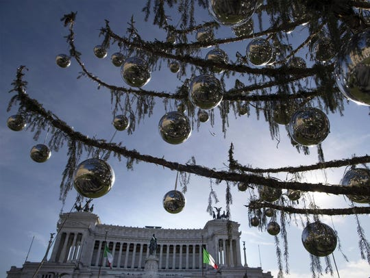 A close up of branches of Rome's official Christmas