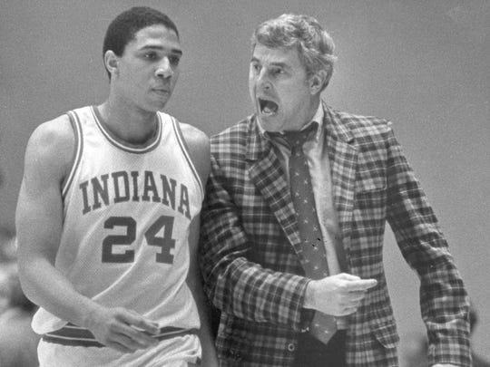 Then-Indiana University coach Bobby Knight chastized player Daryl Thomas (24) for his play in a Feb. 10, 1984, game against Wisconsin in Bloomington, Ind.