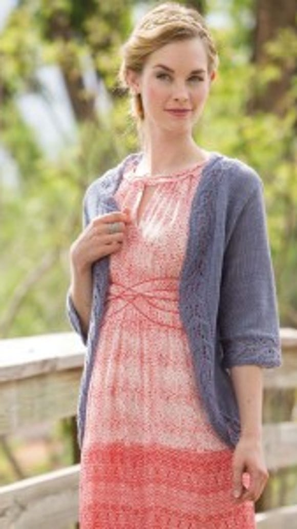 This cardigan is knit in superlight yarn with size 6 needles to give you a very light-weight sweater.