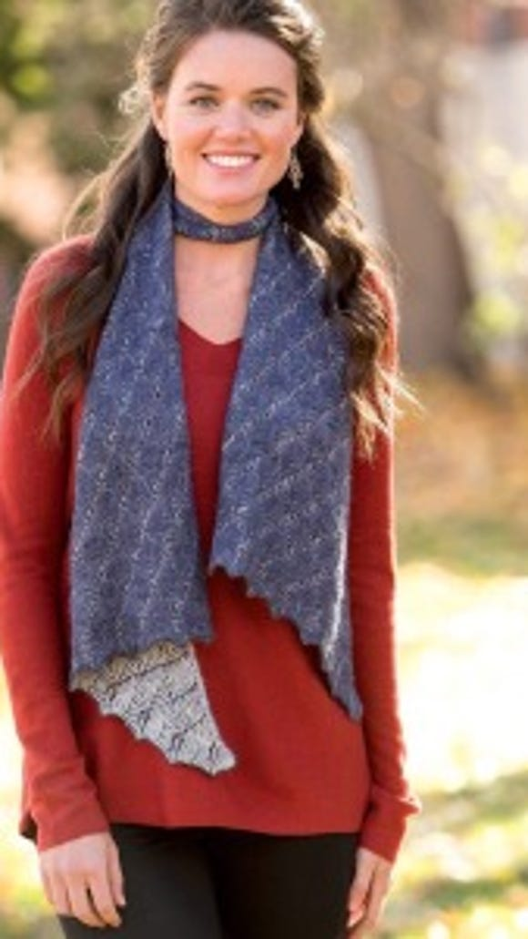 The Mothwing Scarf combines two-color ribbing and lace. Yes, lace!