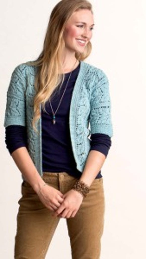 Enchanted Beauty is a lacy cardi/vest knitted from the bottom up with a three-needle-bind-off seam on the shoulders.