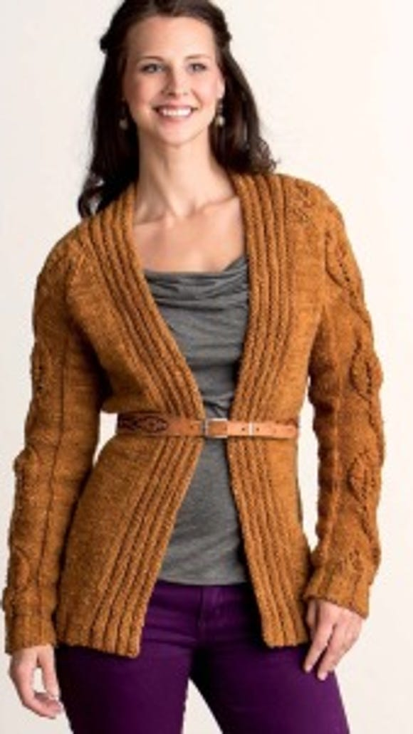 This Forest Cardigan gives you a lot of practice with a leaf design where the number of stitches changes from right-side row to right-side row.