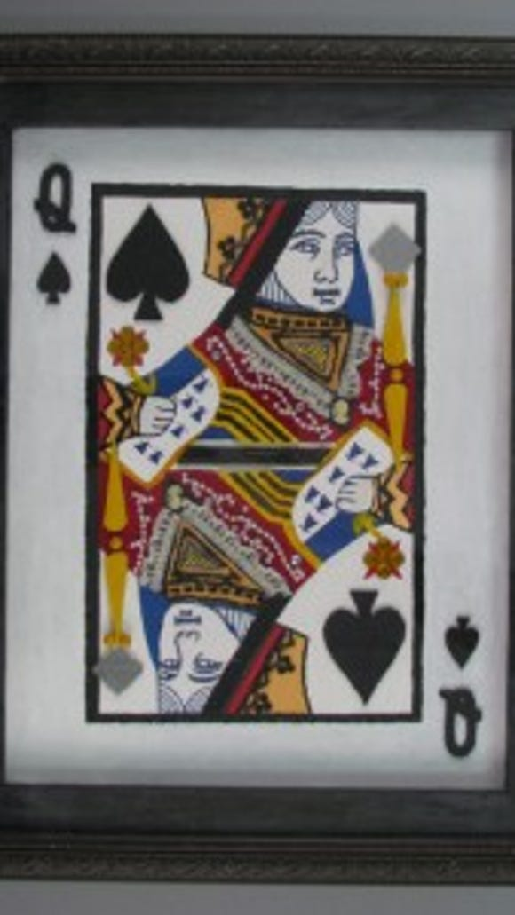 "Queen of Spades collage, Gift of Joseph D. Andrews in memory of his father, Joseph V. Andrews, courtesy of The Strong, Rochester, New York. ""In general, the image of the queen of spades is thought to represent Pallas Athene, the Greek goddess of wisdom. In the card game hearts, she is often referred to as ""the evil queen"" because she can force a player to lose (or to win big if he or she risks it all.)"""