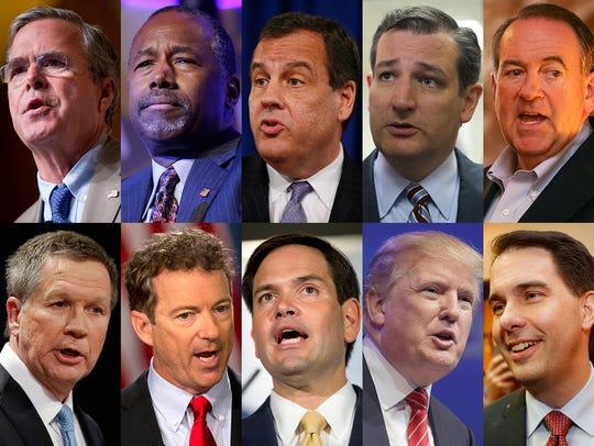 GOP presidential candidates Jeb Bush, Ben Carson, Chris