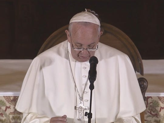 Pope Francis addresses a gathering of more than 300 bishops Sunday morning.