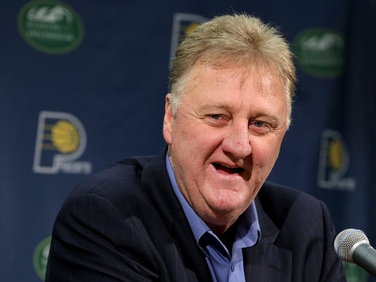 Indiana Pacers president Larry Bird fields questions