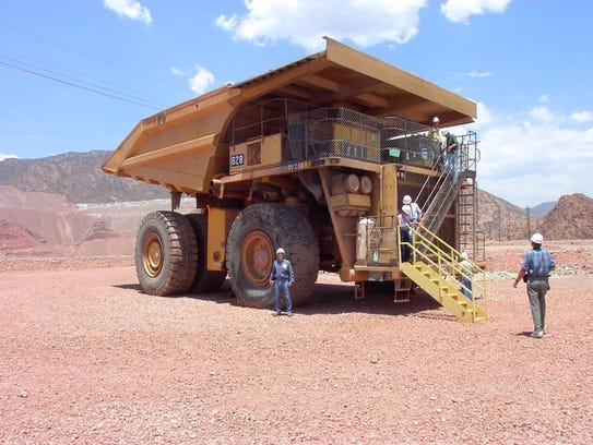 One of the giant dump trucks used inside the Morenci
