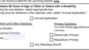 This portion of the form to apply for a mail-in ballot has created confusion among several Travis County voters, causing many to receive ballots without some runoff races. The Travis County Clerk is telling those voters they now must vote in person.