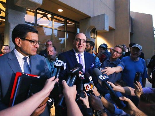 Arizona Coyotes Attorney Nicholas Wood, left and President