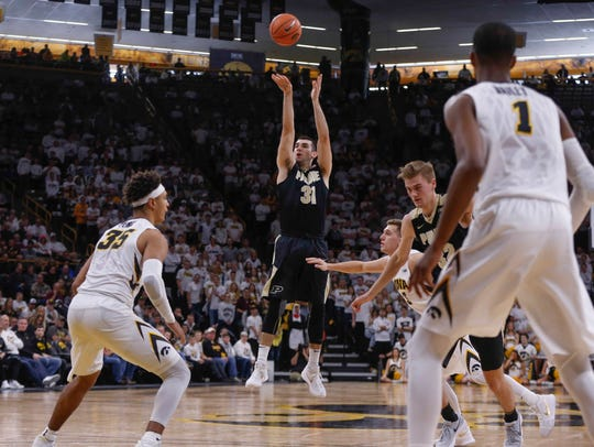 Purdue sophomore Carson Edwards fires a three point