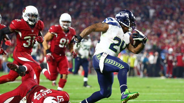 Dec 21, 2014; Glendale, AZ, USA; Seattle Seahawks running