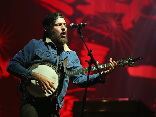 Scott Avett of the Avett Brothers performs at the Boston
