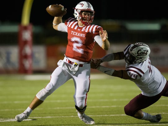 Ray quarterback Brad Breckenridge leads the Texans into the North Zone finale against Gregory-Portland with a chance at an InterZone Playoff spot.