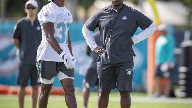 Coach Brian Flores at Dolphins training camp.