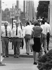 The lunch time crowd along Endicott's Washington Avenue