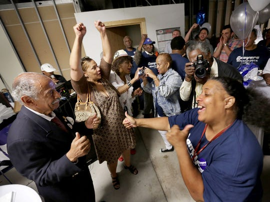 John Conyers thanks his supporters after declaring victory at his campaign headquarters in Detroit on Aug. 5, 2014.