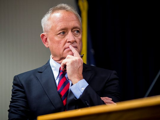 """Hamilton County Prosecutor Joe Deters announced that no criminal charges would be filed in Hamilton County against forgery University of Cincinnati flute professor Bradley Garner at a press conference Thursday, March 1, 2018 at the Hamilton County Prosecuting Office in downtown Cincinnati. """"The guy is just a pig,"""" he said. """"To prey on your students in this fashion is unconscionable."""""""