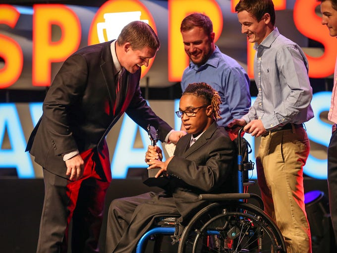 Alex Welch, of Lawrence North, wins the courage award