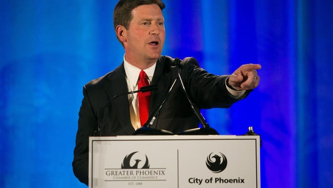 Mayor Greg Stanton gives his 2014 State of the City speech at the Phoenix Convention Center on Wednesday, March 19, 2014.