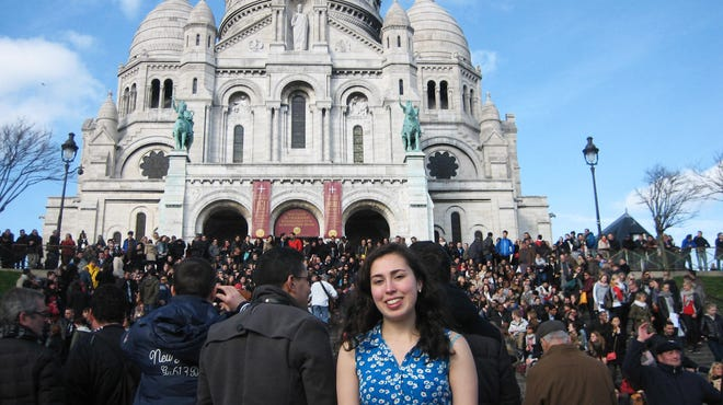 This image provided by Jane Tabachnick shows her daughter Mel Bandler on the steps of Sacre Couer, the famous church in Paris. Bandler studied in Paris as part of her work for a degree from Rutgers University, and stayed in touch with her mom using Skype and GoogleChat.