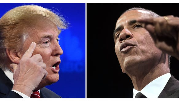 Donald Trump and President Obama.