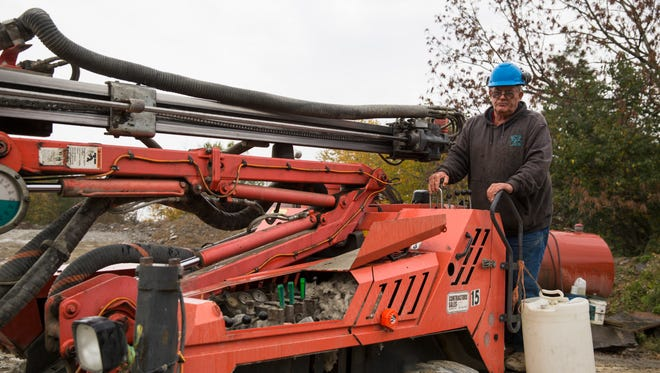 In this Friday, Oct. 9, 2015, photo, Glen Mead operates a line drill machine at a rock quarry, in Montrose, Pa. Mead spent his life working as a dairy farmer and at age 60, began working with Rock Ridge Stone in Montrose, to make ends meet. For just the third time in 40 years, millions of Social Security recipients, disabled veterans and federal retirees can expect no increase in benefits next year, unwelcome news for more than one-fifth of the nation's population.