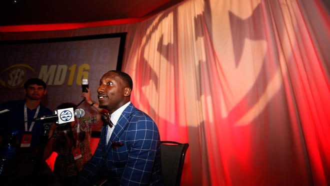 South Carolina wide receiver Deebo Samuel speaks to the media at the Southeastern Conference NCAA college football media days, Thursday, July 14, 2016, in Hoover, Ala.