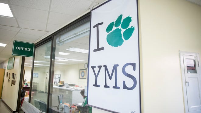 A sign hangs in Yorktown Middle School, welcoming students back to school Friday, Aug. 5, 2016