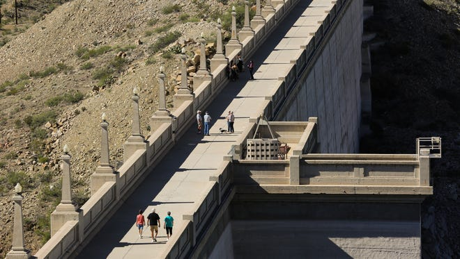 To celebrate the centennial of the Elephant Butte Dam, the U.S. Bureau of Reclamation held a ceremony at the base of the dam. After the ceremony, employees at the Dam gave tours of the Dam and power  station  along with opening the top of the Dam to the public on Wednesday, October 19, 2016 at Elephant Butte Dam.