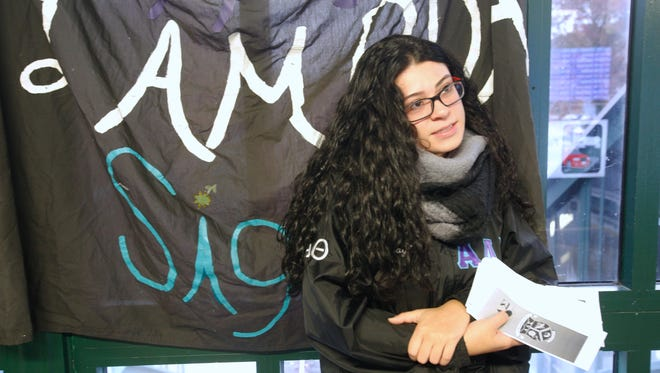 Kayla Quinonez of Peekskill, a first time voter and student at Pace University, talks about the results after Election Day in Chappaqua on Nov. 9, 2016.