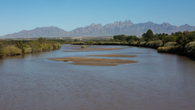 The Elephant Butte Irrigation District ended its water season Sept. 30, 2017, prompting the appearance of more sandbars in the Rio Grande near Las Cruces. After an irrigation district in El Paso ends its season next week, the Rio Grande will dry up for the winter. The Rio Grande is shown here from the Black Bridge, on Monday Oct. 9, 2017, with the Organ Mountains in the background.
