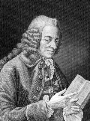 """Voltaire (1694-1778) on engraving from 1859. French Enlightenment writer, historian and philosopher. Engraved by unknown artist and published in Meyers Konversations-Lexikon, Germany,1859."""