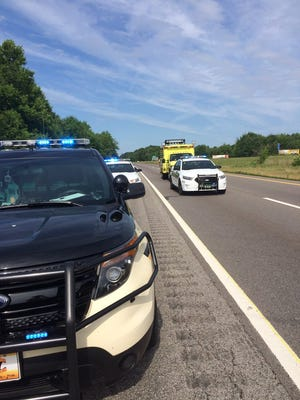 The Tennessee Highway Patrol on the scene of a double-fatal crash on I-40 east near mile marker 174 in Dickson County