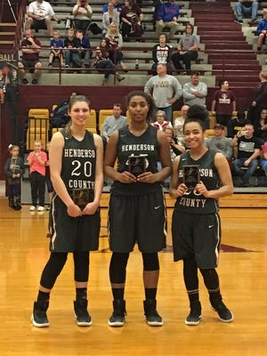 Three Henderson County High School Lady Colonel seniors, Emma Lander, Alisha Owens and Breanna Chester, were all named to the All District Team. From left are Emma Lander, Alisha Owens and Breanna Chester