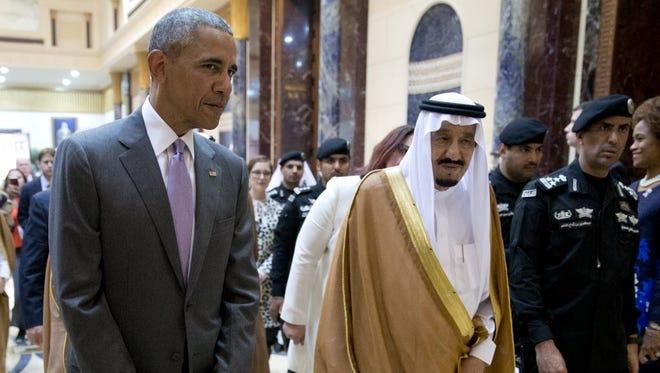 President Obama and Saudi Arabian King Salman in Riyadh on April 20, 2016.