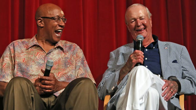 Former Indiana Pacers ABA player George McGinnis laughs at a story told by his former coach Slick Leonard at the Dropping Dimes Foundation fundraiser at the JCC, Sunday, July 19, 2105.