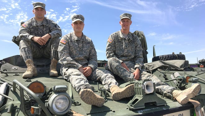 From left, Cadets George Kratz, Sean MacDonald and Patrick Hannan were among the cadets who recently visited Fort Bliss as part of a training program.